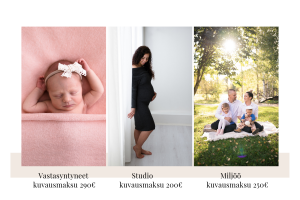 kuvausmaksut vastasyntyneen kuvaus studiokuvaus miljöökuvaus